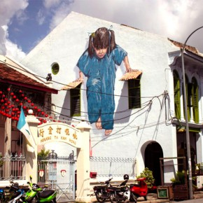 peinture interactive Ernest Zacharevic fille girl in situ