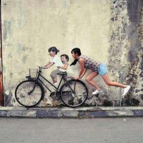 peinture interactive Ernest Zacharevic fille girl children in situ velo