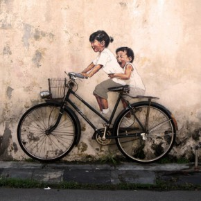 peinture interactive Ernest Zacharevic bicycle velo children enfants in situ