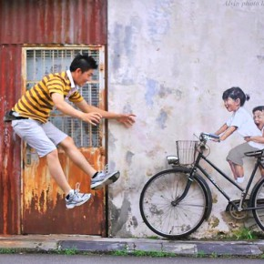 peinture interactive Ernest Zacharevic bicycle velo in situ