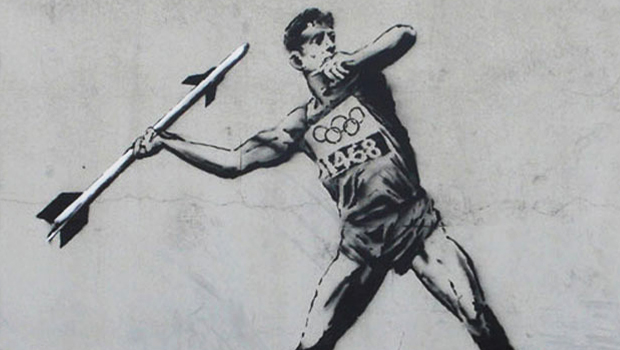 header banksy londres london 2012 street art stencil pochoirs jeux olympiques olympics political