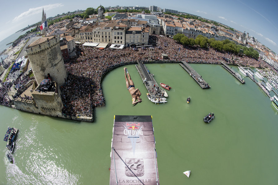 Orlando Duque of Colombia dives from the 27.5 metres platform on the Saint Nicolas Tower during the second stop of the Red Bull Cliff Diving World Series, La Rochelle, France on May 17 2015.